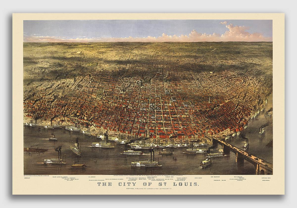 St 24x36 Louis Missouri 1873 Historic Panoramic Town Map