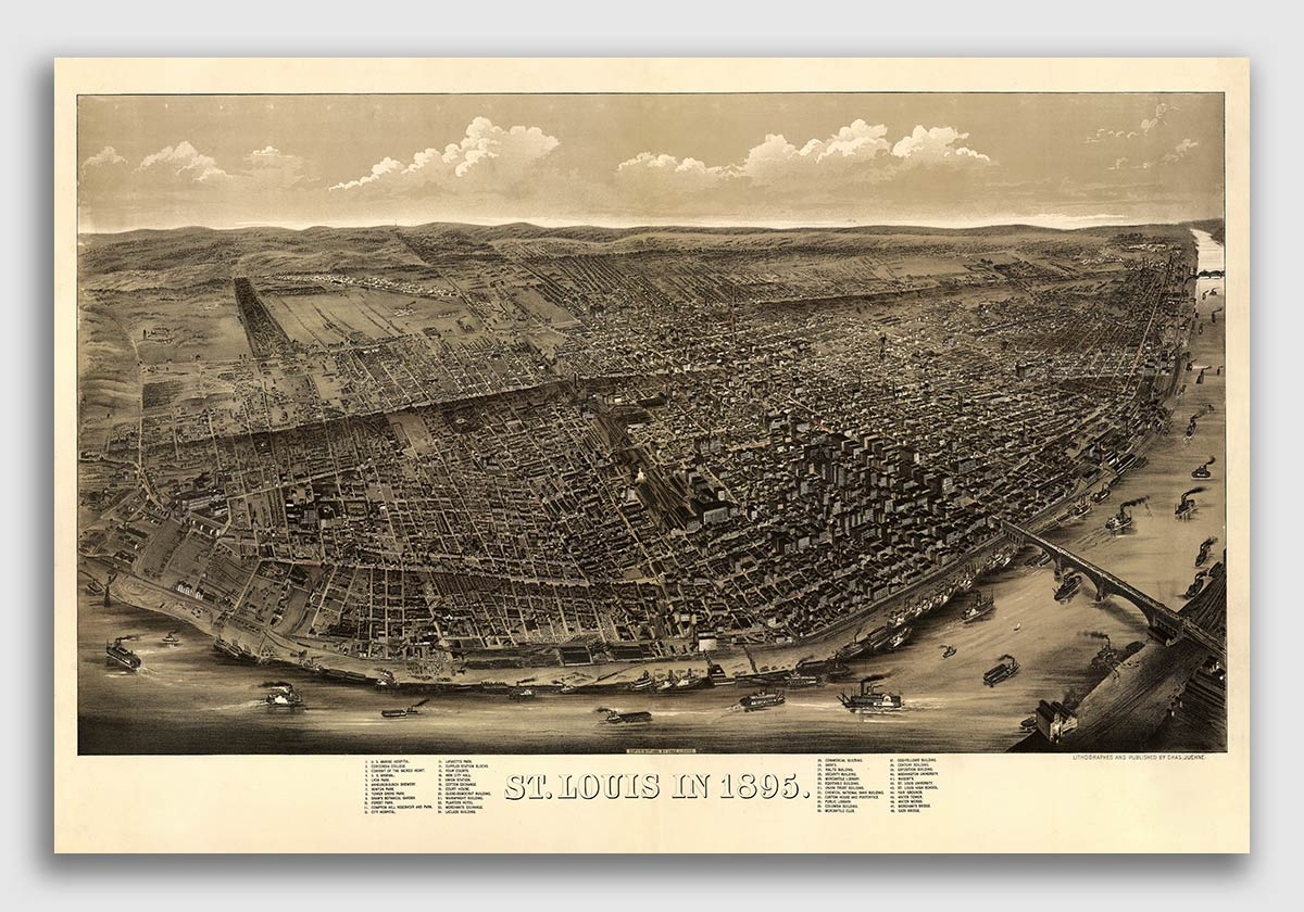 Louis Missouri Vintage Old Panoramic City Map 1895 St 24x36