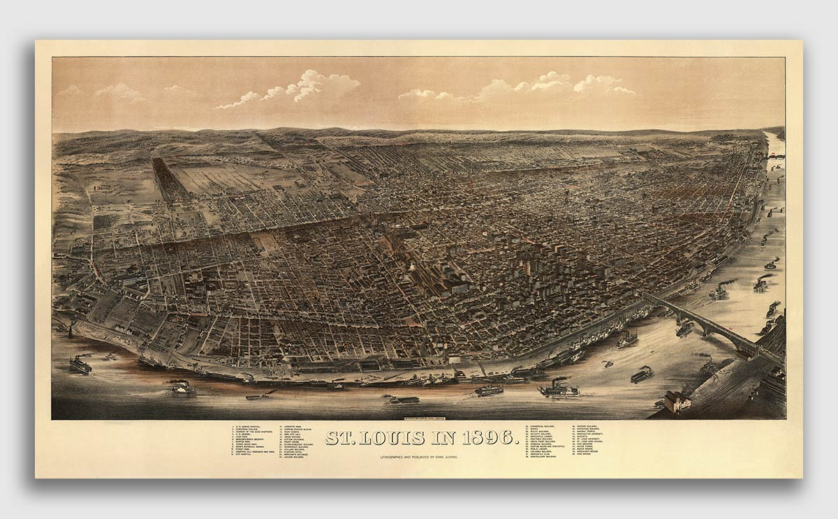 16x24 Louis Missouri Vintage Old Panoramic City Map 1896 St