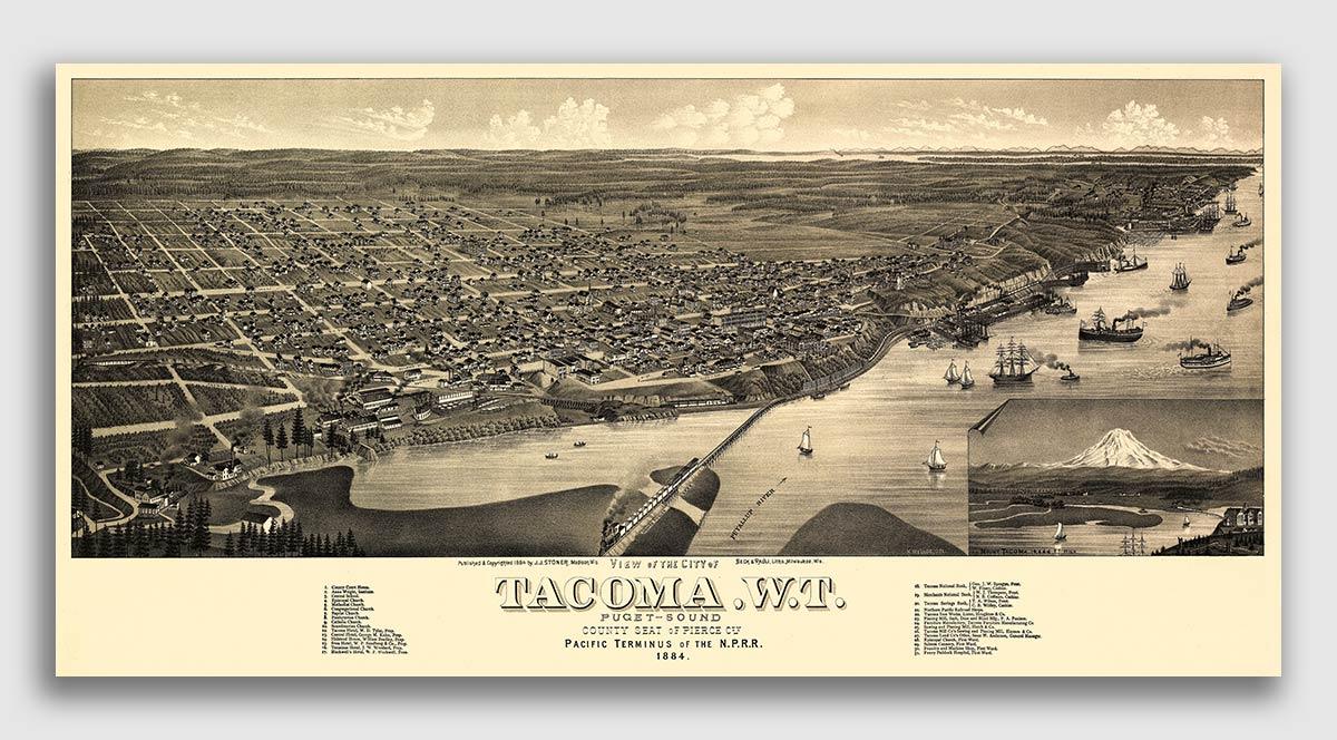 Walla Walla Washington 1884 Historic Panoramic Town Map 24x36
