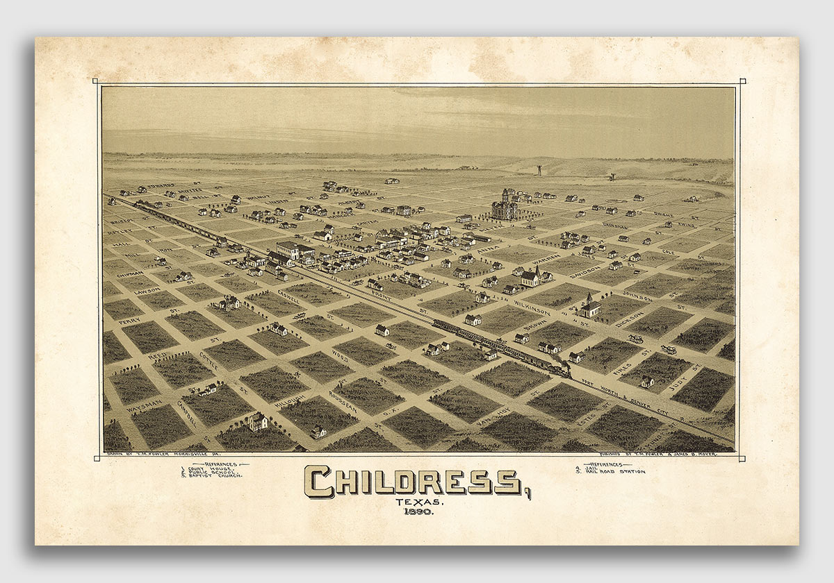 1890 Childress Texas Vintage Old Panoramic City Map 16x24