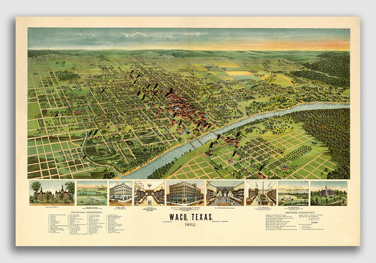 20x30 Bird/'s Eye View 1890 Sunset Texas Vintage Style City Map
