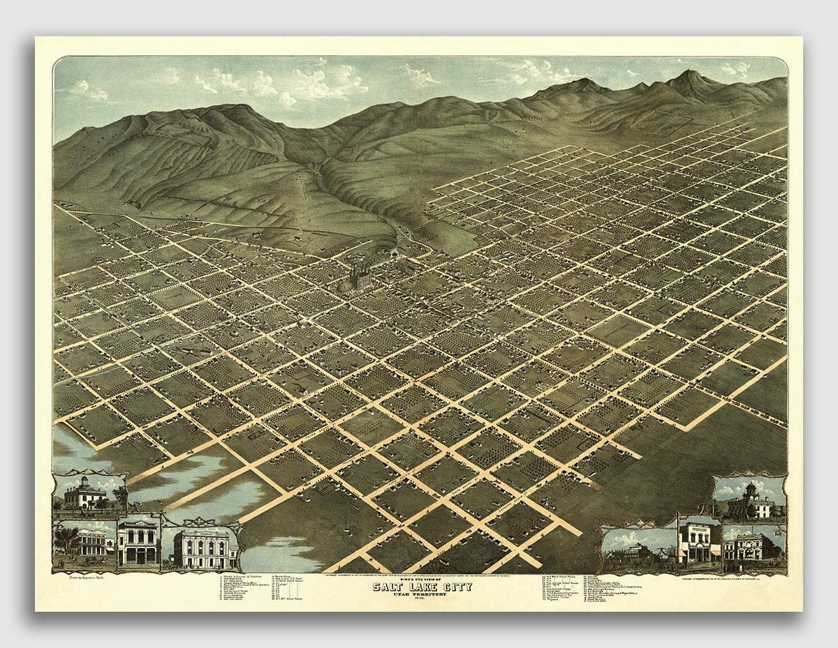 1875 Brigham City Utah Vintage Old Panoramic City Map 24x36