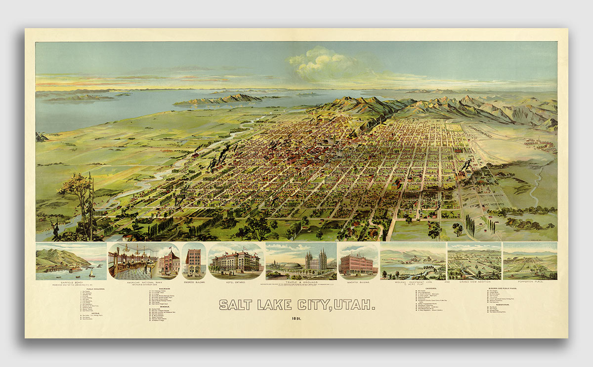 20x28 Bird/'s Eye View 1851 New Orleans Lousiana Vintage Style City Map