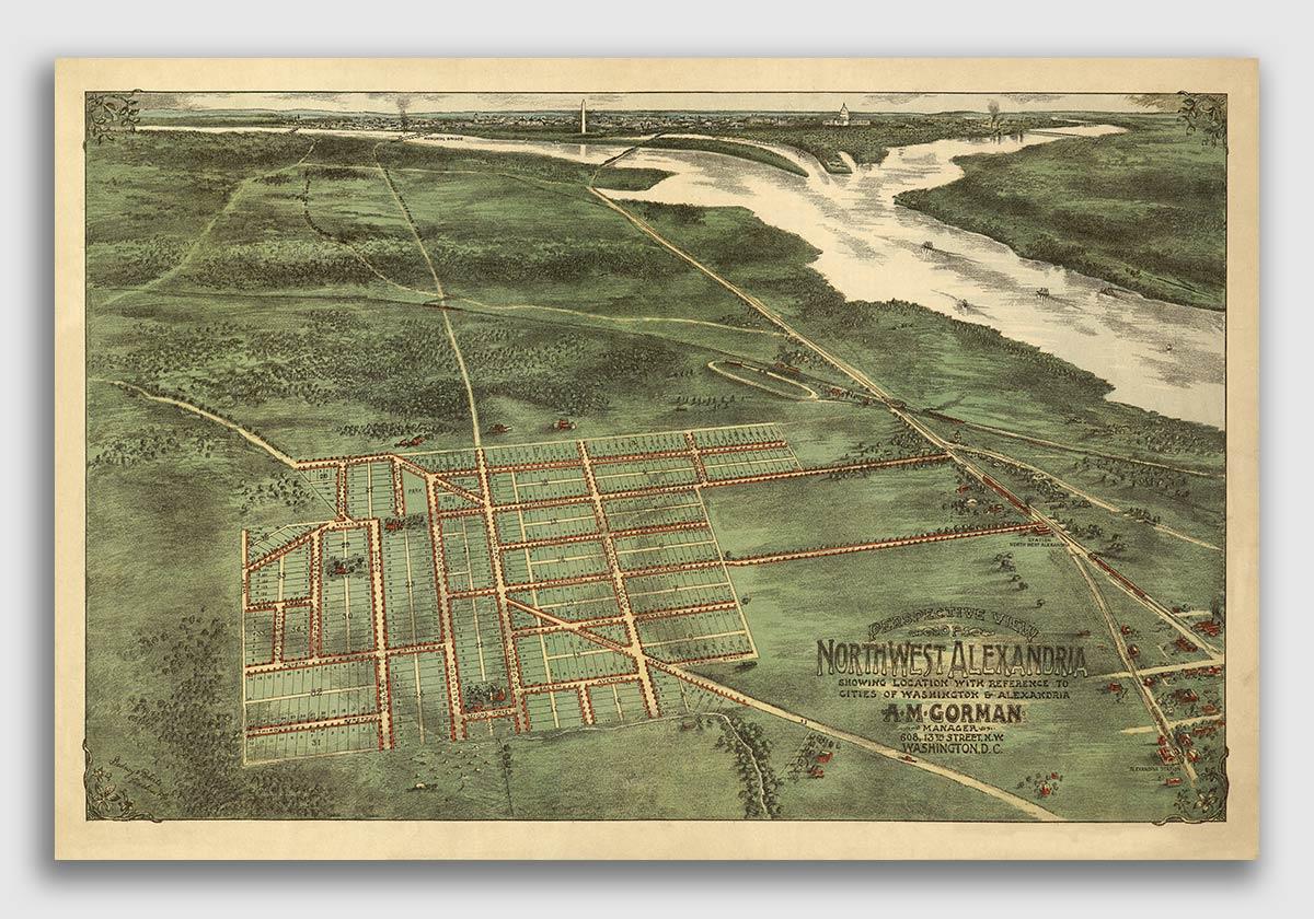 24x36 Alexandria VA 1890s Historic Panoramic Town Map