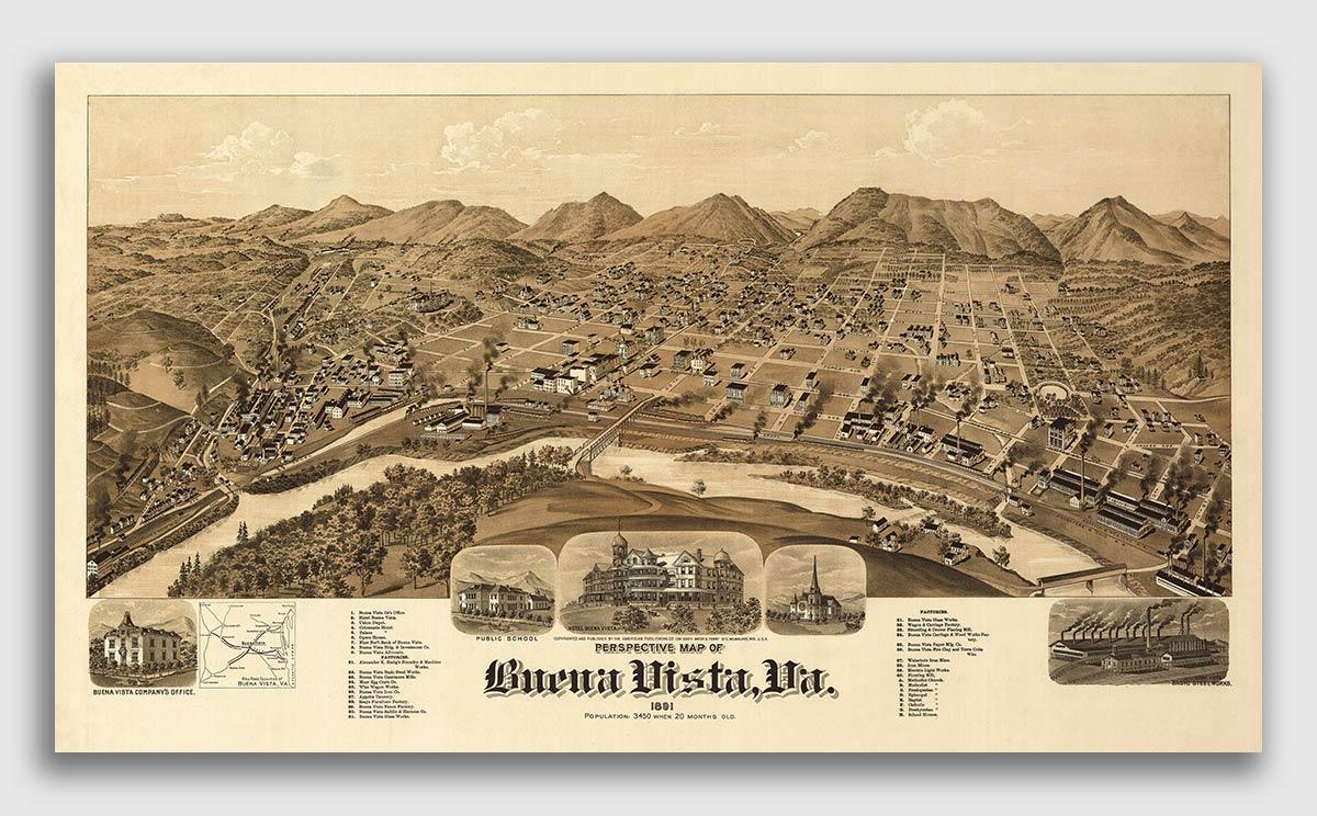 1891 Roanoke Virginia Vintage Old Panoramic City Map 16x24
