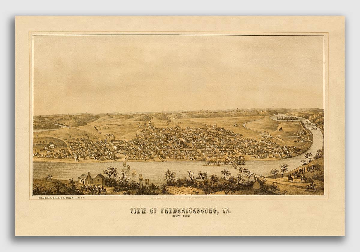 Fredericksburg Virginia 1862 Historic Panoramic Town Map 16x24