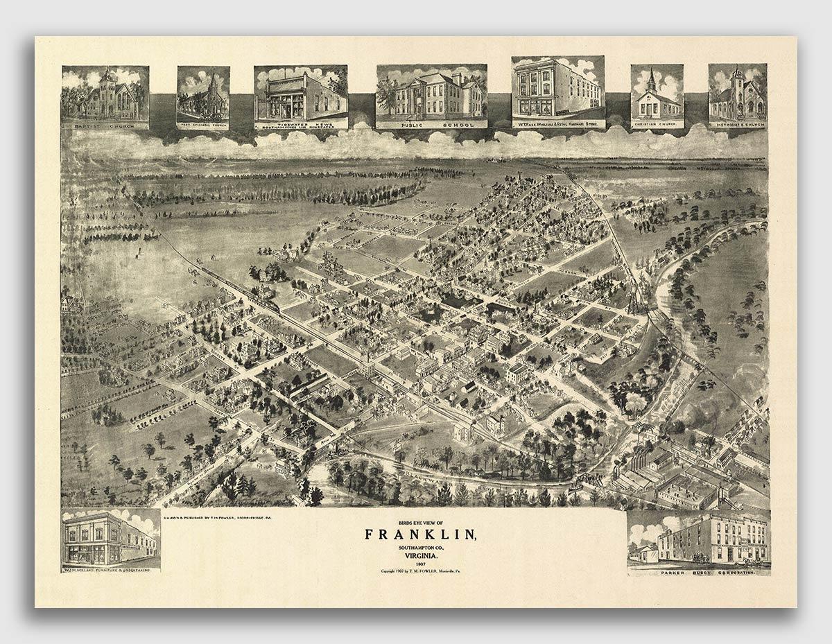 1907 Franklin VA Vintage Old Panoramic City Map 20x28