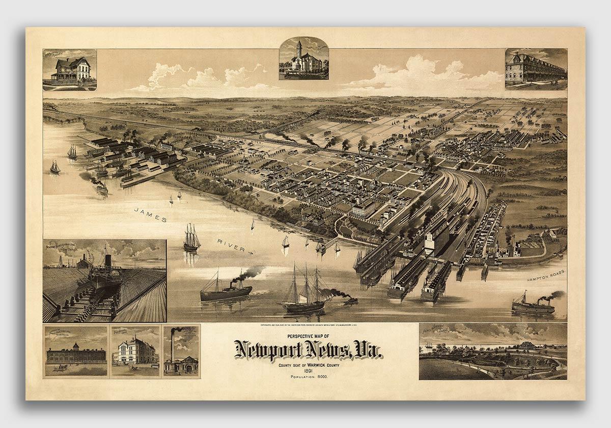 20x30 Suffolk Virginia 1907 Historic Panoramic Town Map