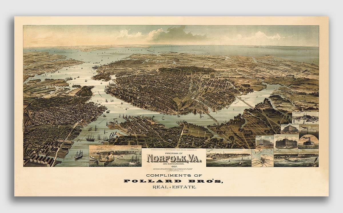 24x36 Bird/'s Eye View 1891 Staunton Virginia Vintage Style City Map
