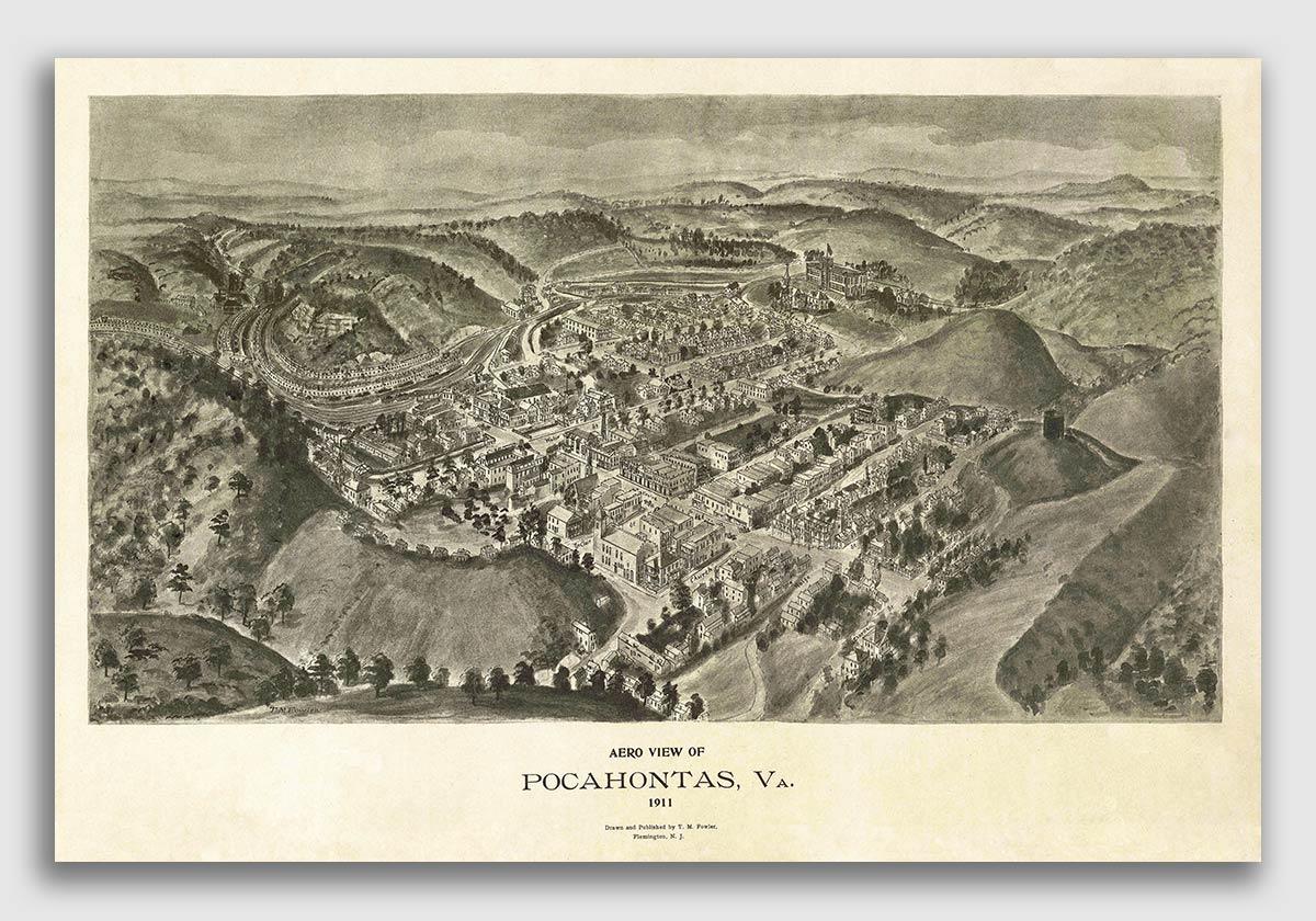 16x24 1891 Bedford VA Vintage Old Panoramic City Map