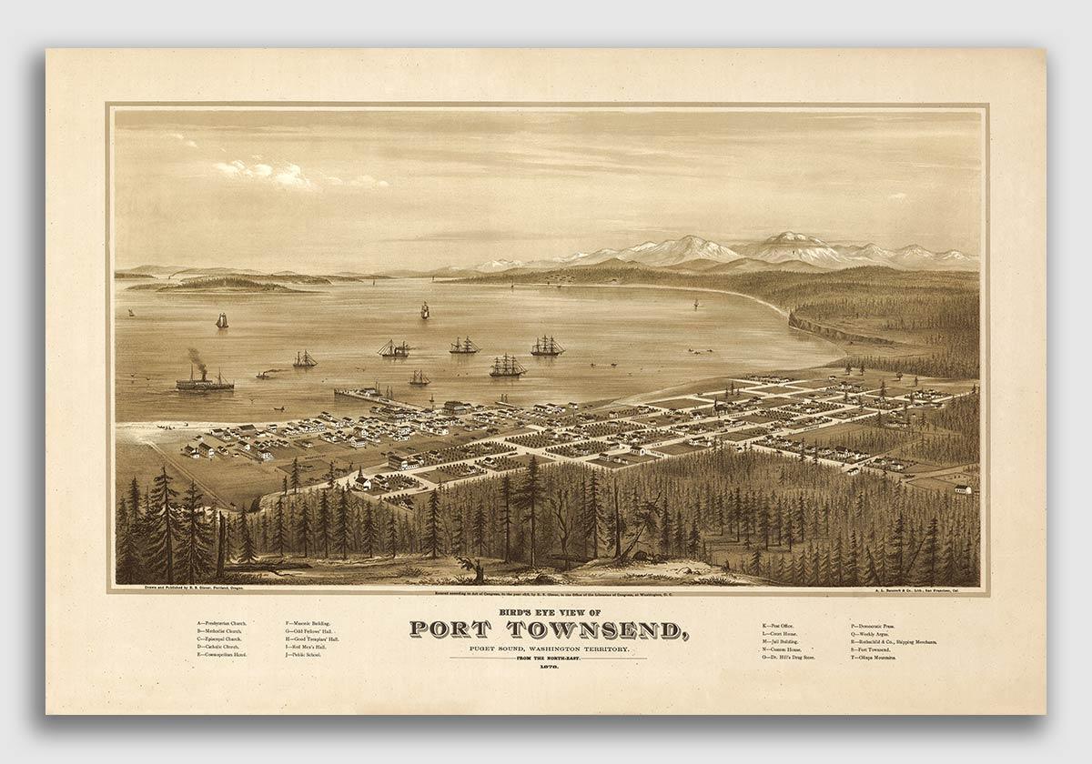 24x36 Vintage Reproduction Map Snohomish Washington Snohomish County 1890