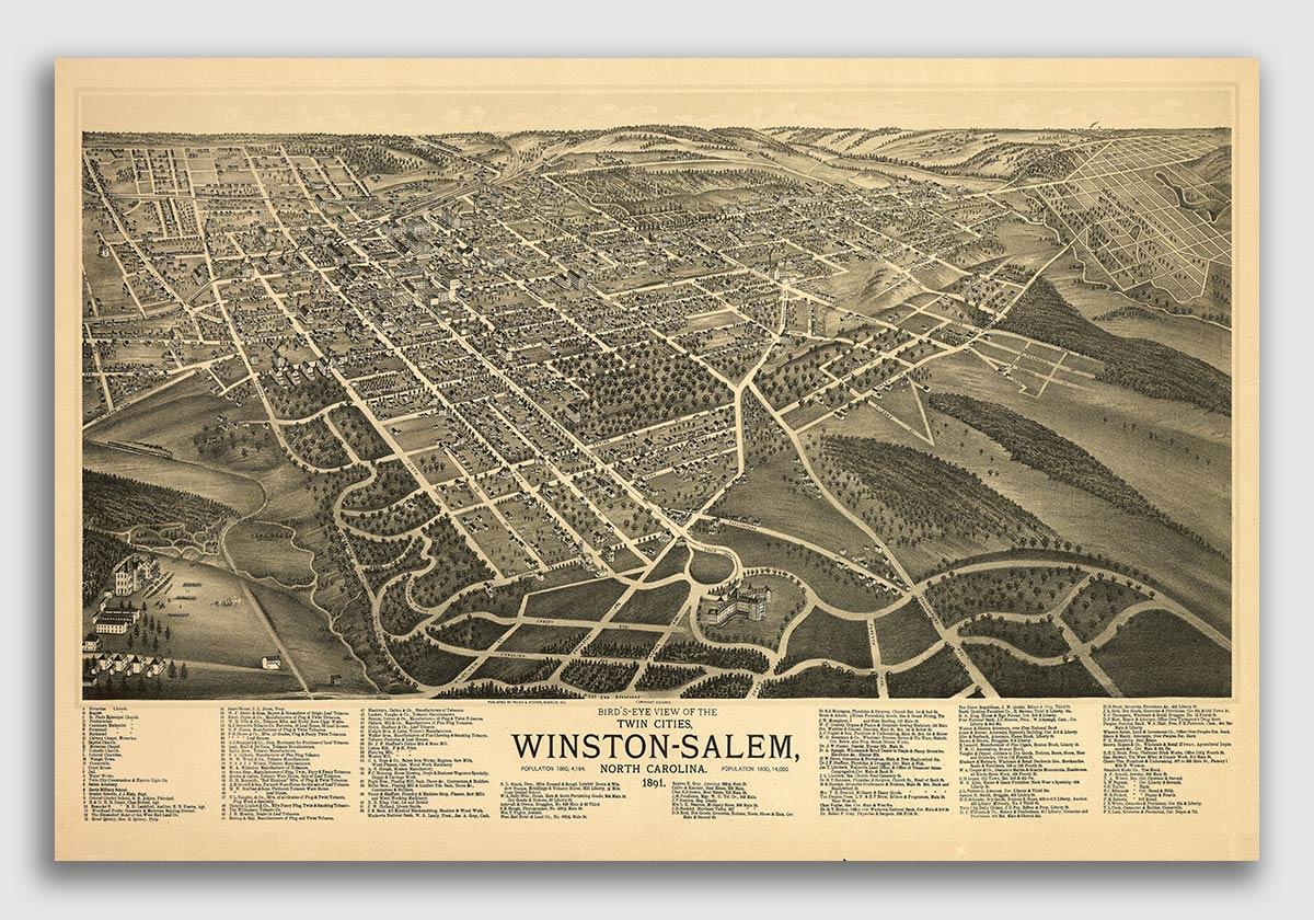Winston-Salem NC 1891 Historic Panoramic Town Map 24x36