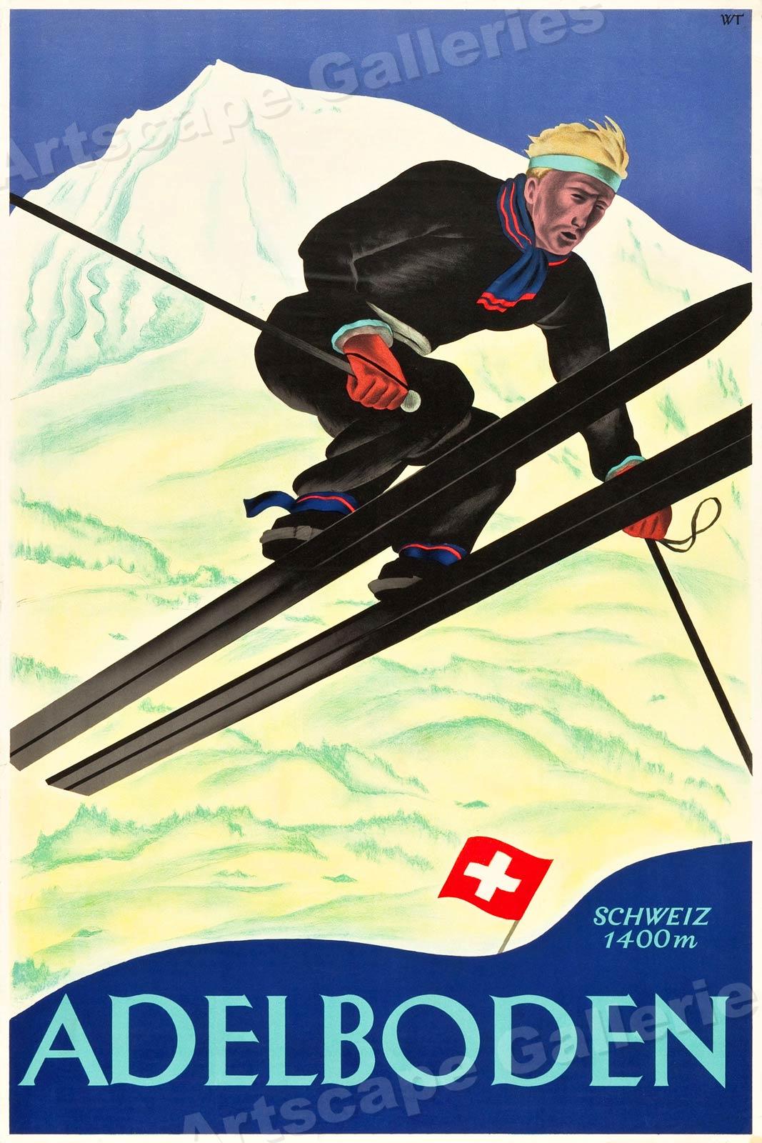 16x24 1920s Adelboden Vintage Style Switzerland Skiing Snow Poster
