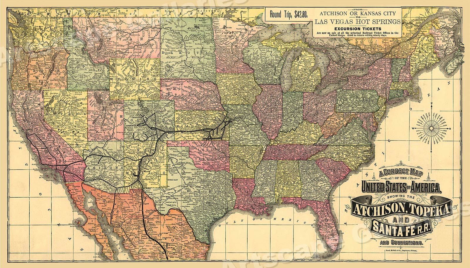 1888 Atchison Topeka Santa Fe Railroad Map 24x42 Ebay