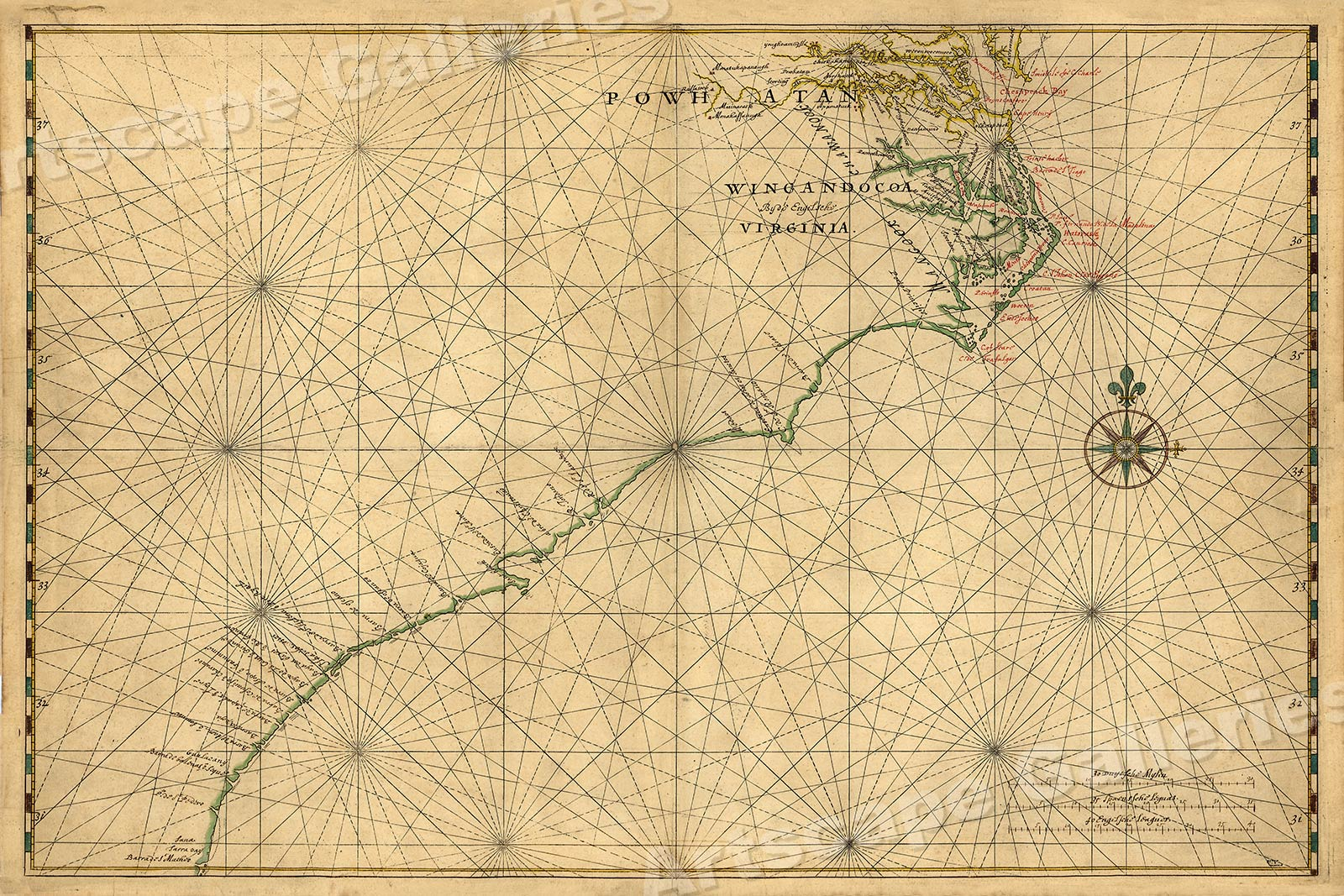 """1639 """"Atlantic Coast of North America"""" Vintage Style Early Land Map 16x24"""