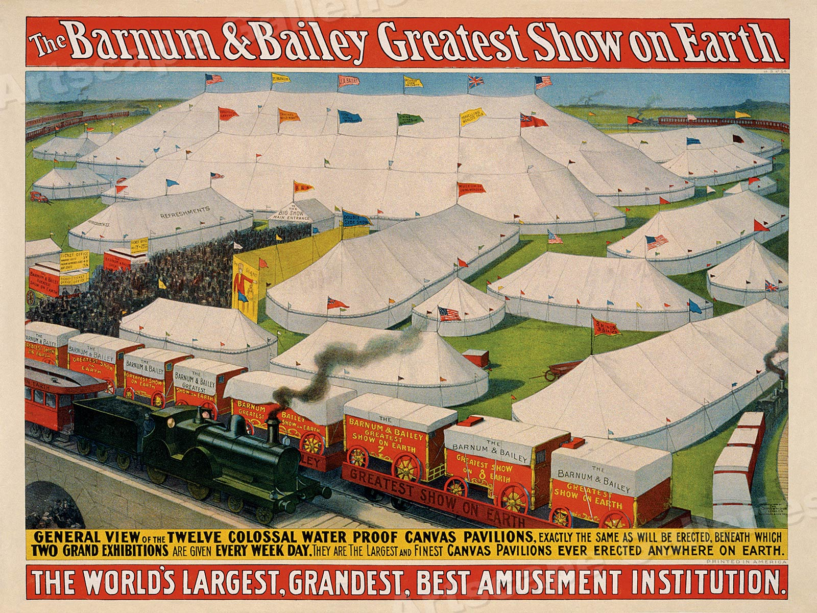 20x28 Barnum /& Bailey Circus 1890s Colossal Tents and Circus Train Poster