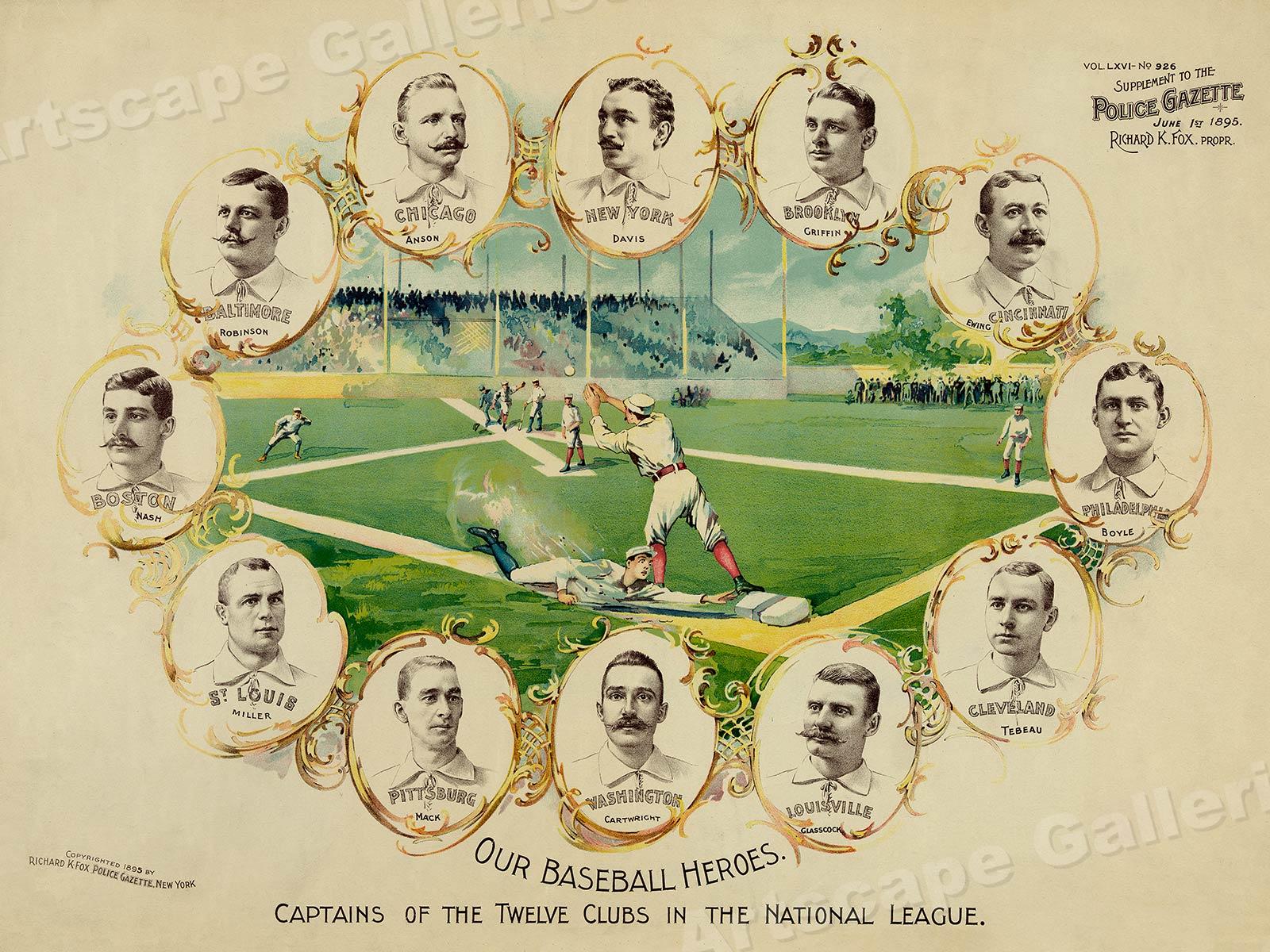 "24x32 Vintage Style Baseball Sports Poster 1890s /""Baseball Heroes/"""