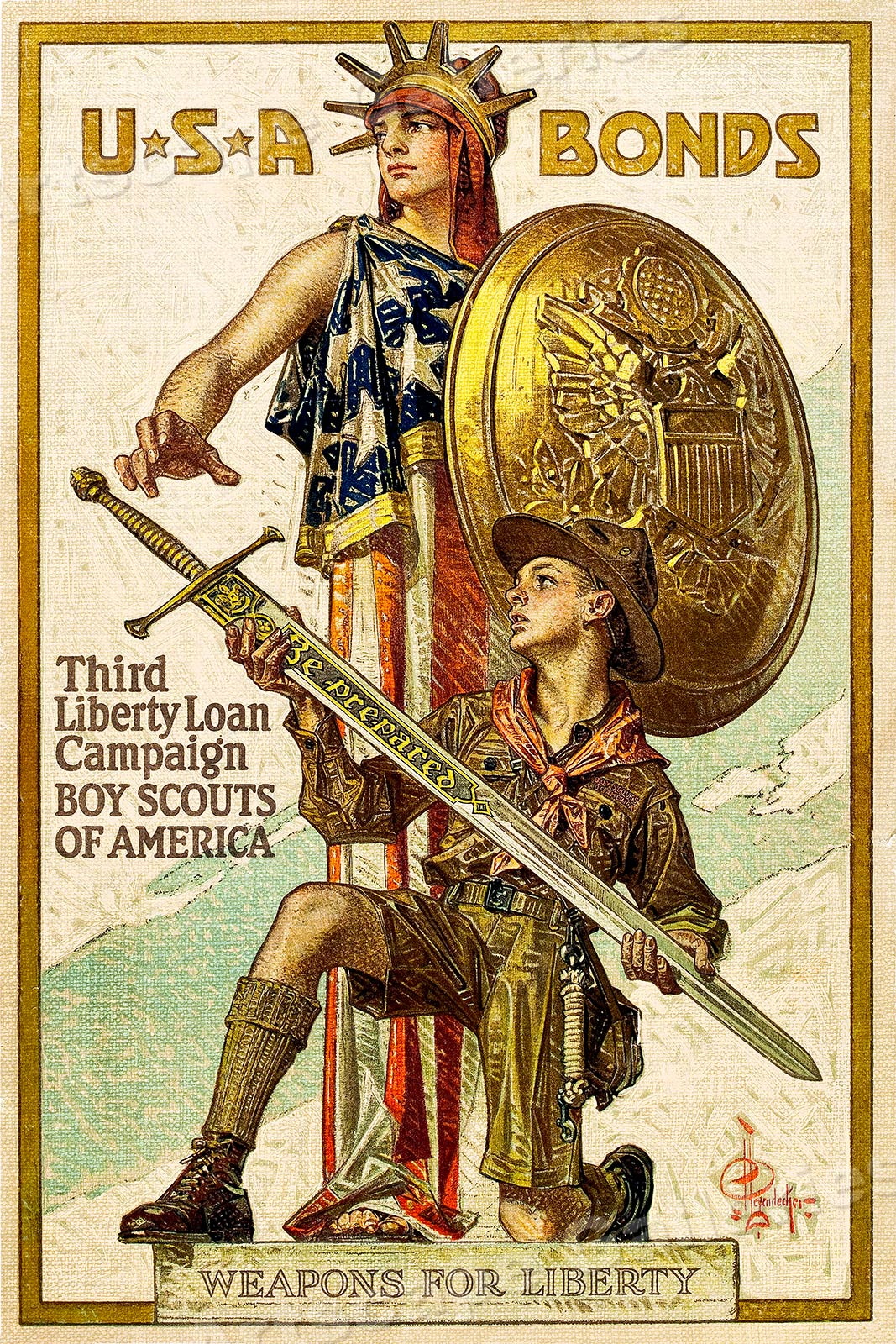 1918 Boys Scouts Be Prepared Sword Vintage Style Liberty Loan Poster 16x24