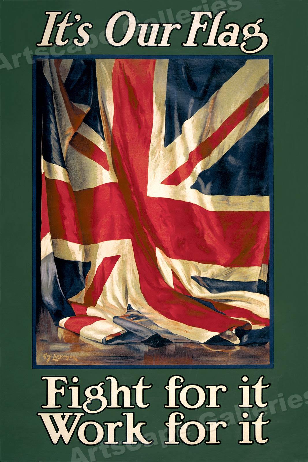 British Union Jack Poster Quot It S Our Flag Quot 1915 Wwi