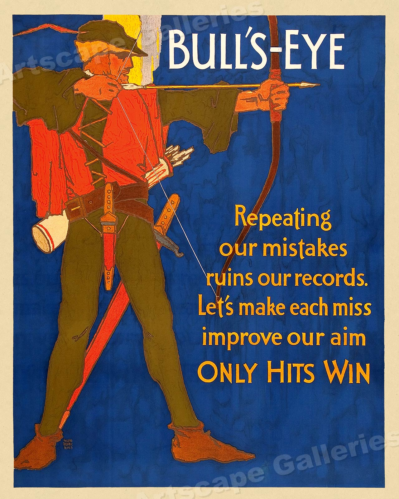 Only Hits Win! 1920s Work Incentive Motivational Poster Bullseye 24x30