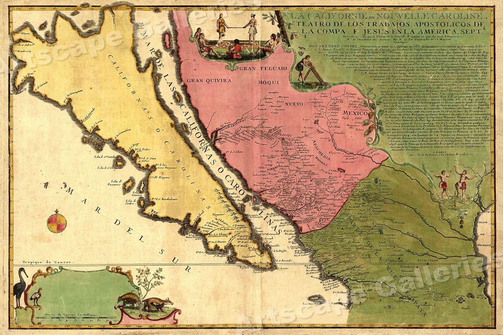1760s North American Historic Vintage Style French and Indian Wall Map 24x30