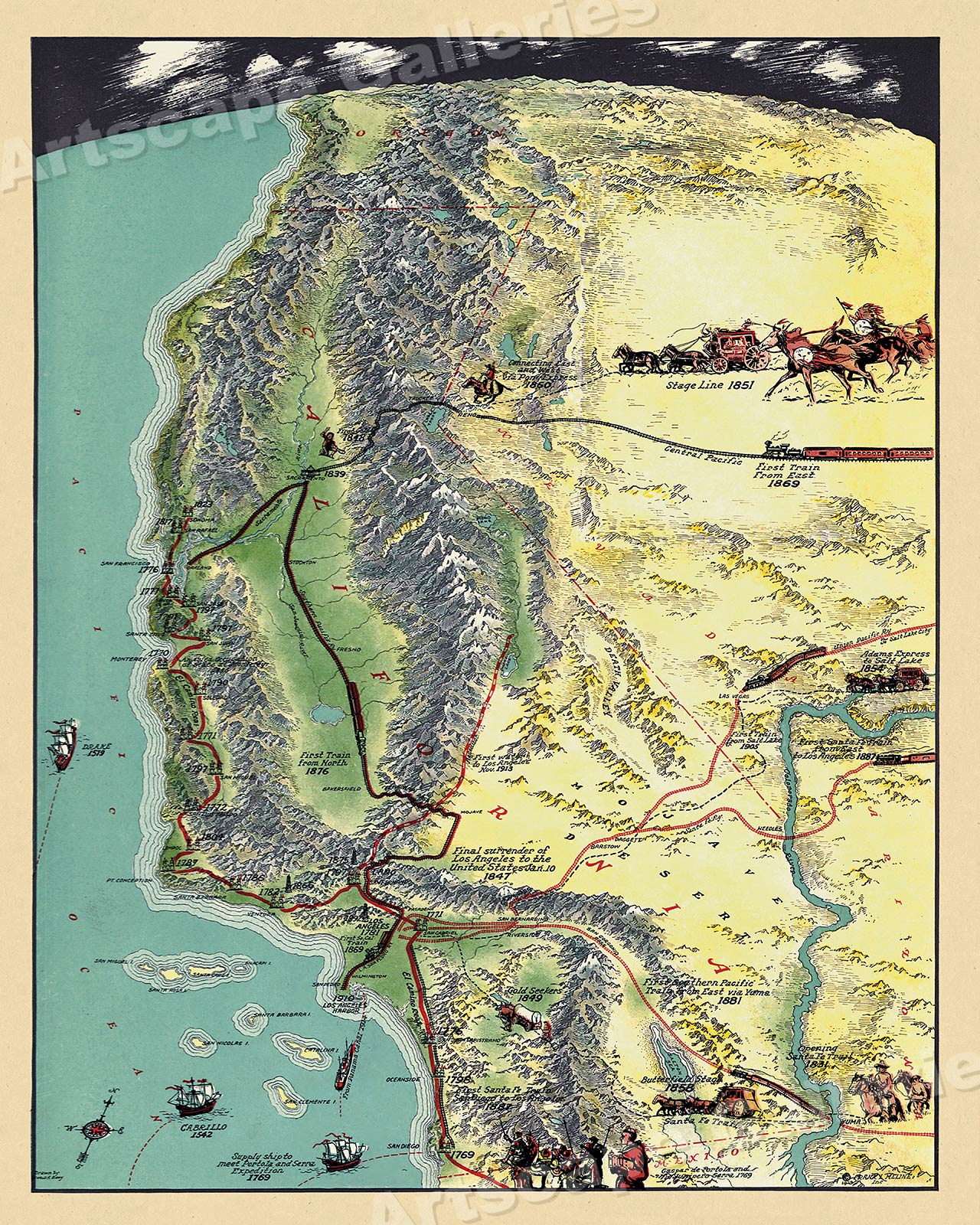 1920s Map of Historical Events that Made Los Angeles 20x24