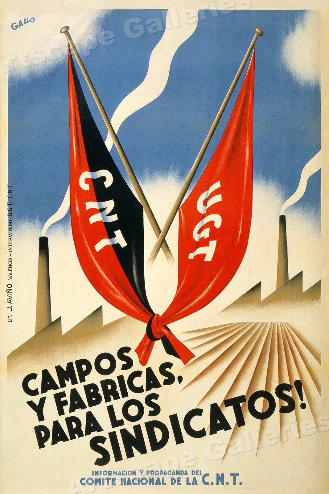 """16x24 /""""Campos y Fabricas Para los Sindicatos!/"""" Spanish Civil War Poster"""