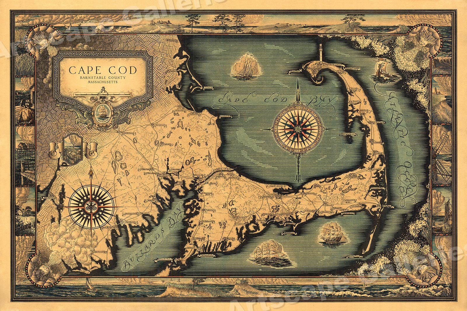 Details about 1930s Cape Cod Historic Old Wall Map - 20x30
