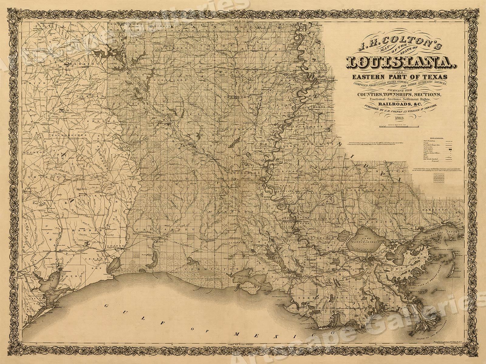 1863 Colton S Map Of Louisiana Texas Historic Map 18x24 Ebay