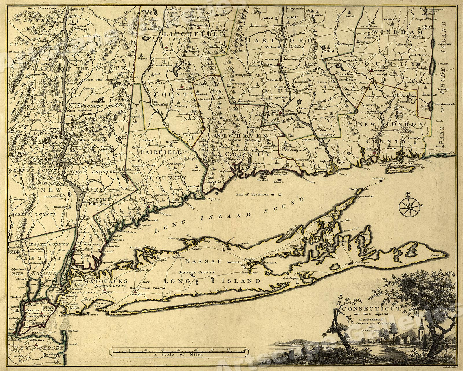 1777 Map Of Connecticut New York New Jersey Long Island 24x30