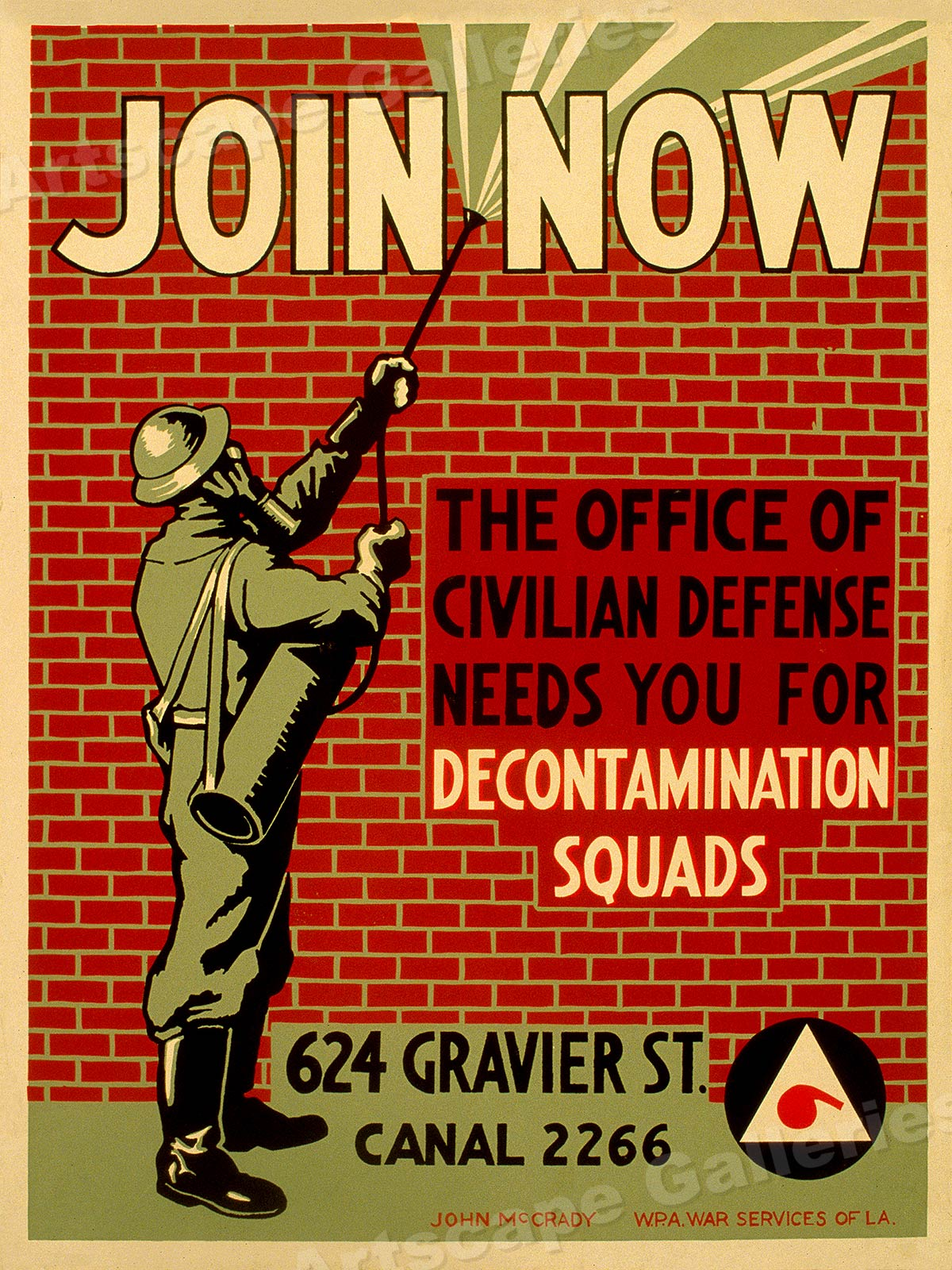 Join Now Office of Civil Defense Classic 1942 WPA Poster 24x32