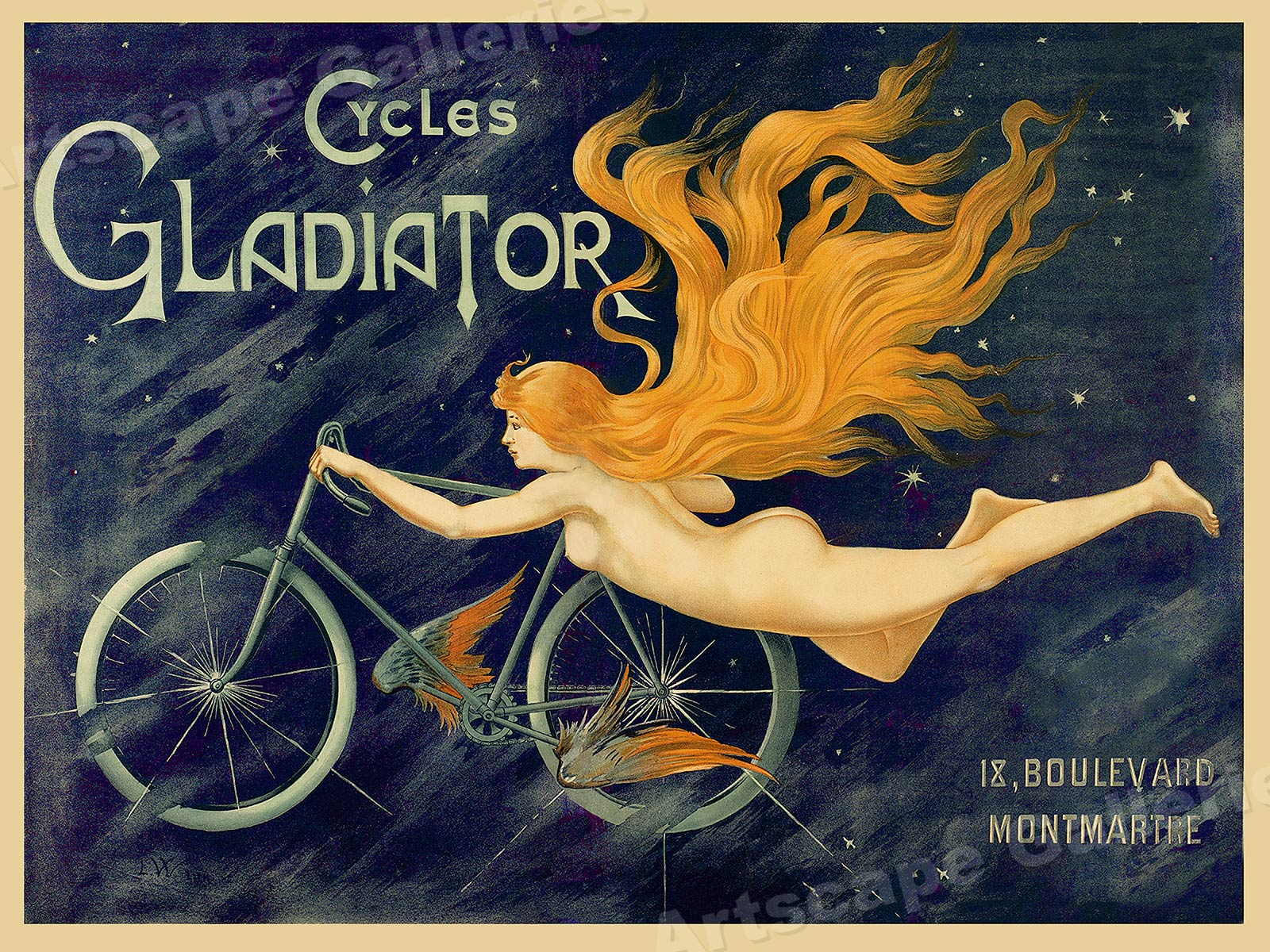 b311db7ebc5 Details about Cycles Gladiator Vintage Style 1895 Art Nouveau Bicycle  Poster - 24x32
