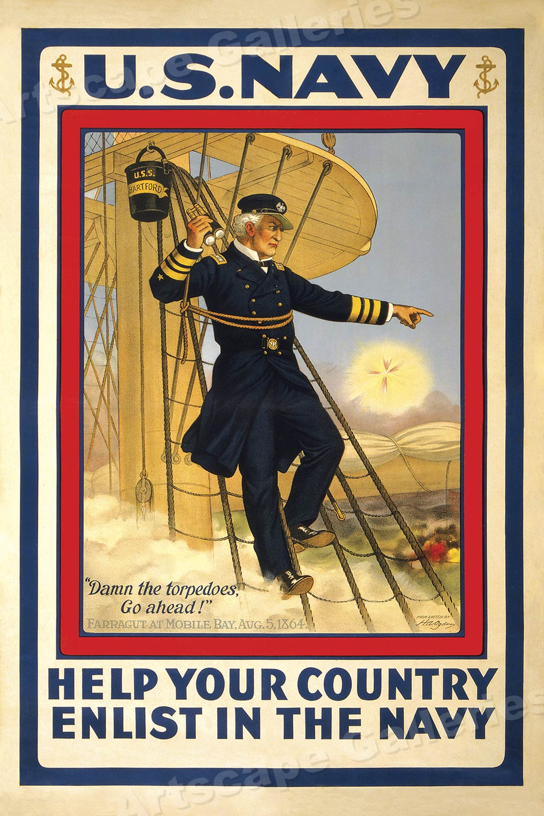 Damn the Torpedoes World War I Navy Recruiting Poster 16x24 Enlist in the Navy