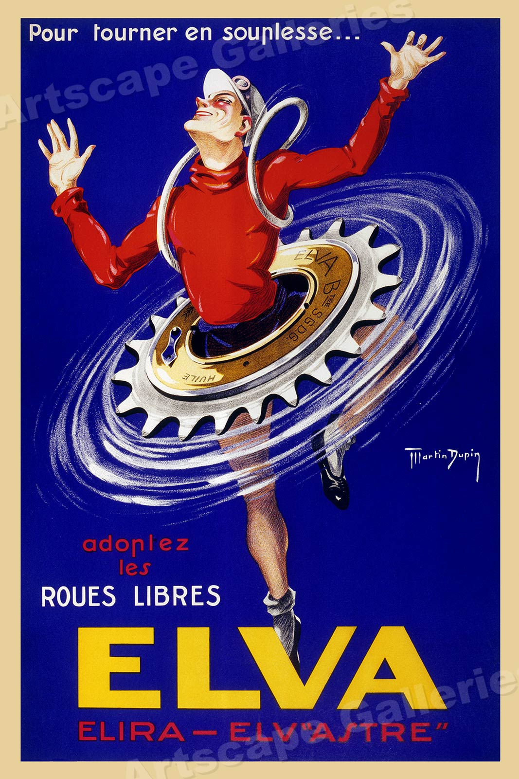 "/""Elva Elv /""Astre/"" 1940s Vintage Style Bicycle Poster Elira 24x36"