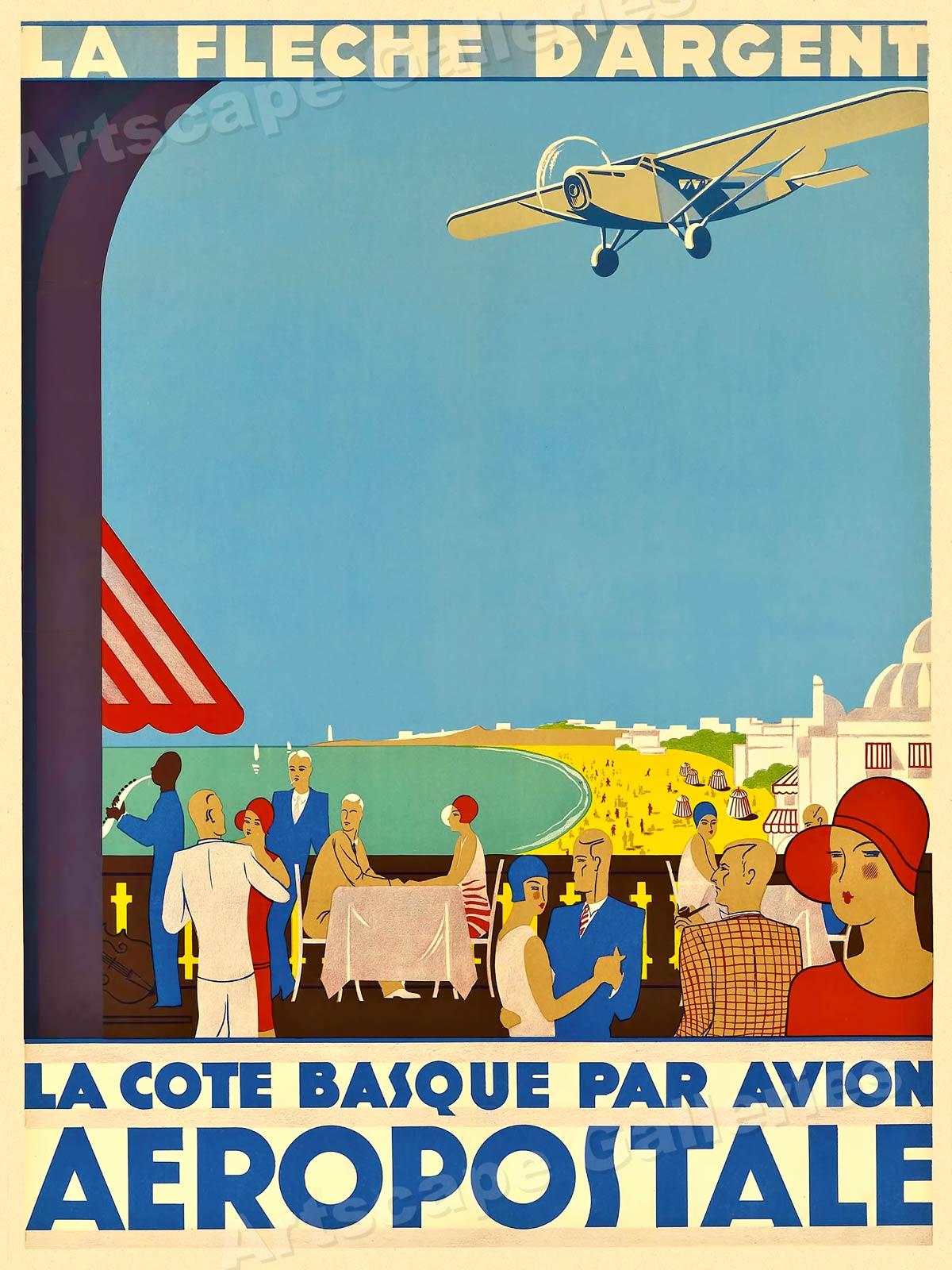 1920s Aeropostale the Basque Coast Vintage Style Travel Poster 20x28
