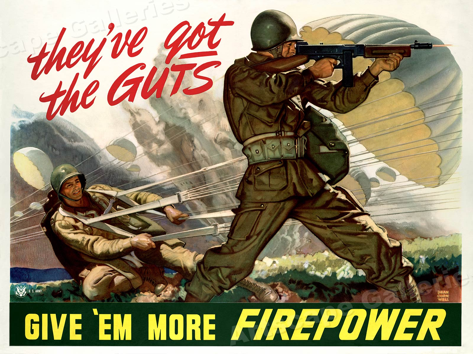 """""""Give 'Em More Firepower!"""" WW2 US Army Airborne War Poster"""