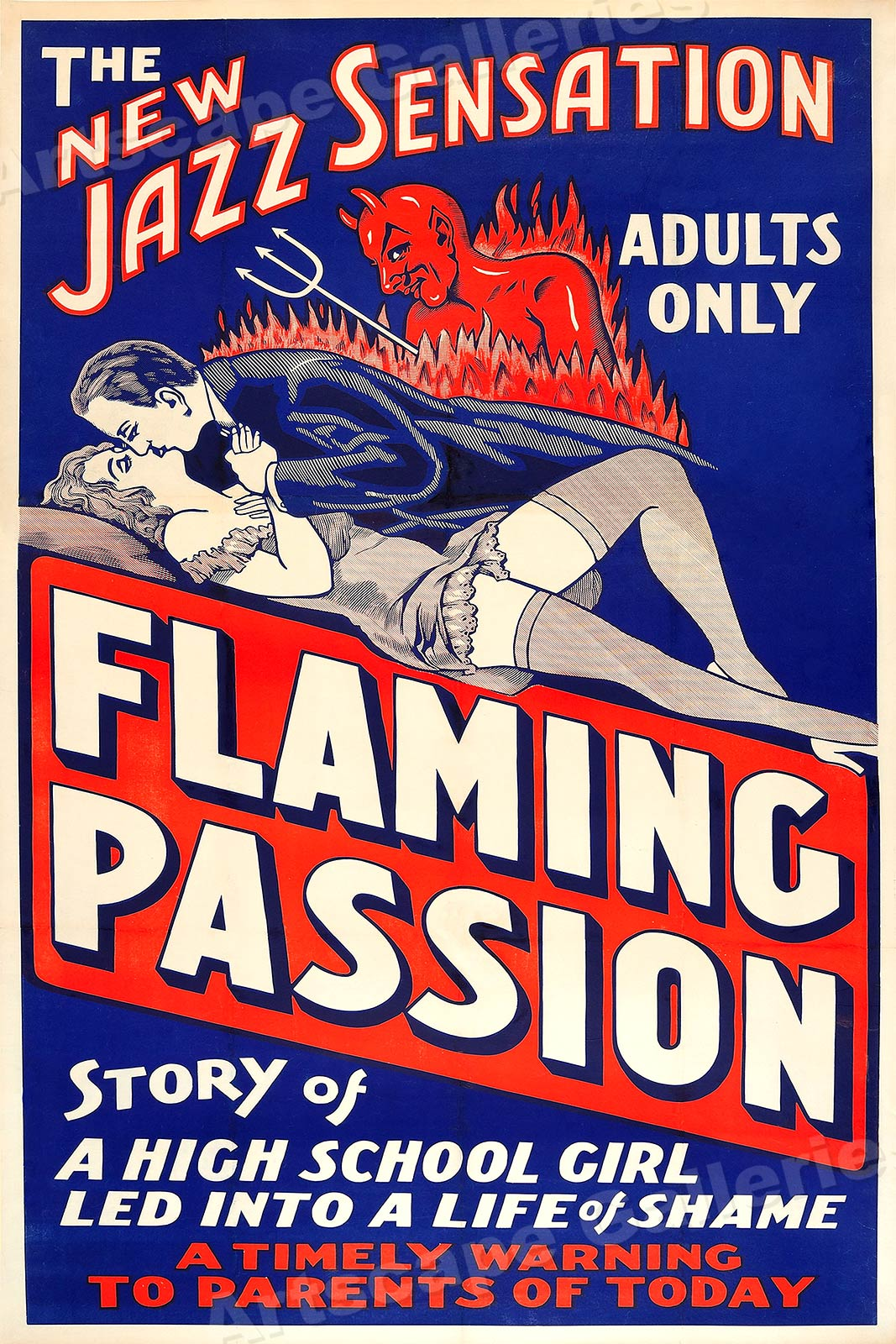1930s Adults Only Movie Poster Flaming Passion 24x36