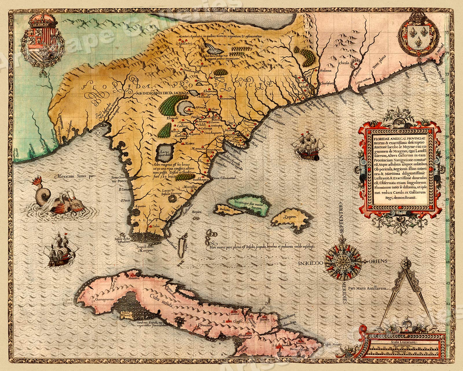 America Map Florida.Details About 1591 Florida Cuba North America Historic Vintage Style Wall Map 24x30