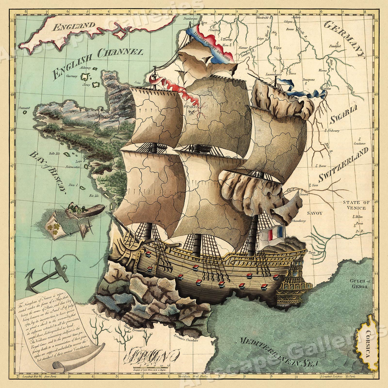 Kingdom of France 1796 Unique Ship Map 24x24
