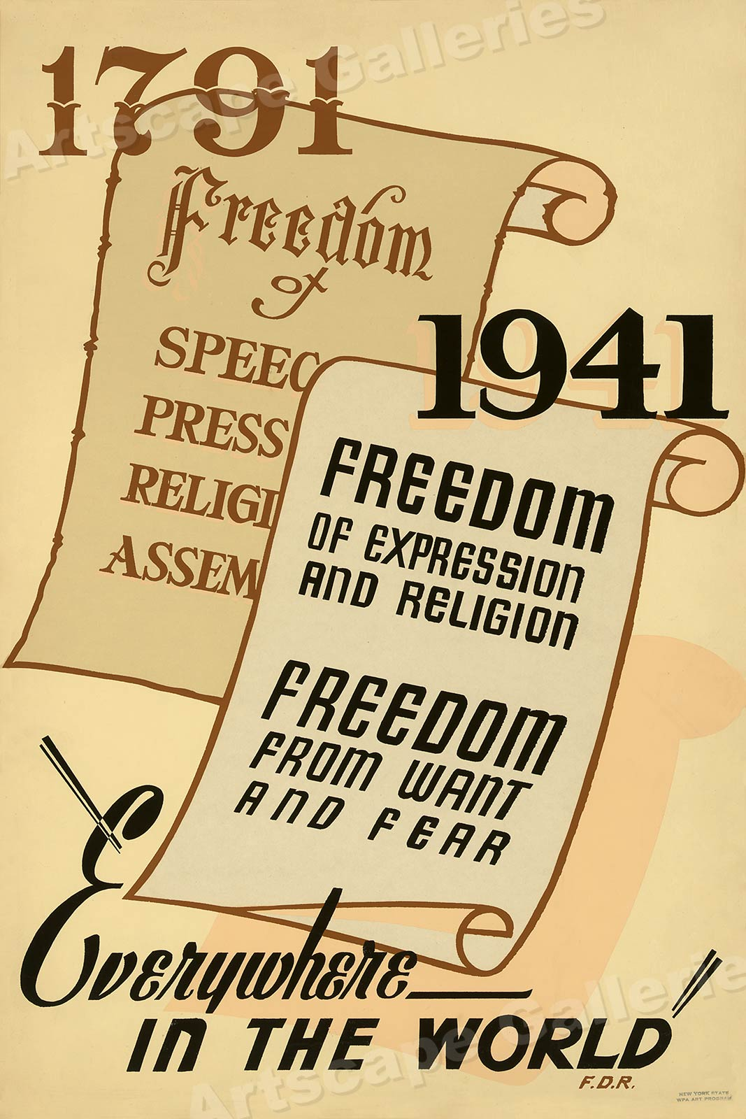 """WPA Poster 1791-1941 /""""Freedom/"""" 1940s Art Project Poster 20x30"""