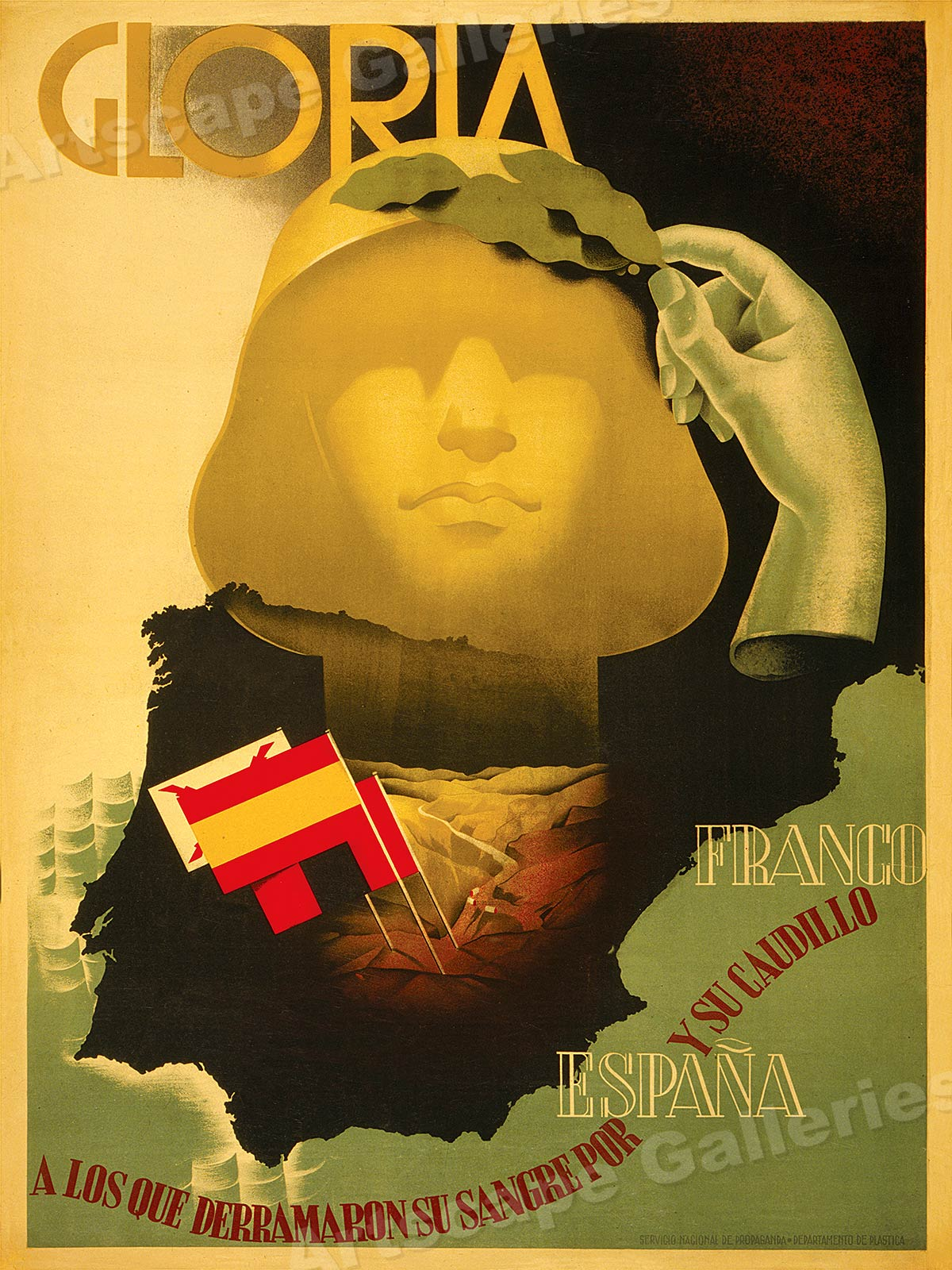 """/""""Glory for Those that Spilled their Blood/"""" 1930s Spanish Civil War Poster  18x24"""