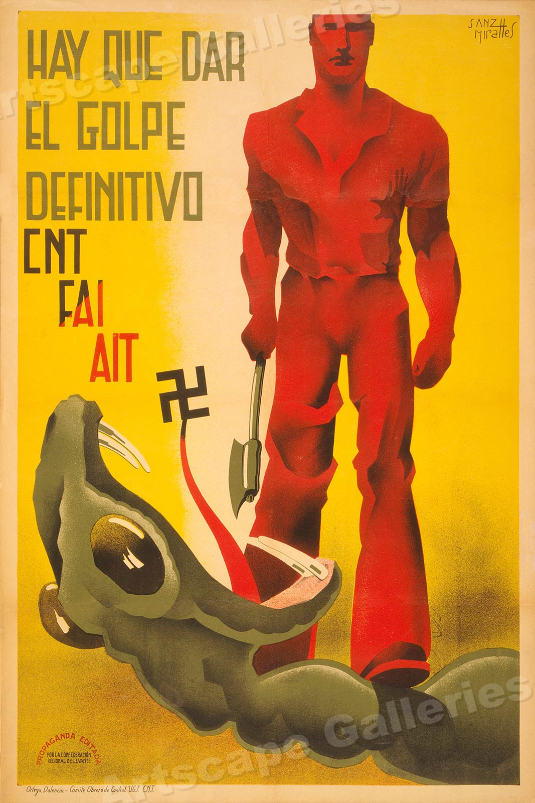20x30 1930s Spanish Civil War Poster Give the Definitive Blow