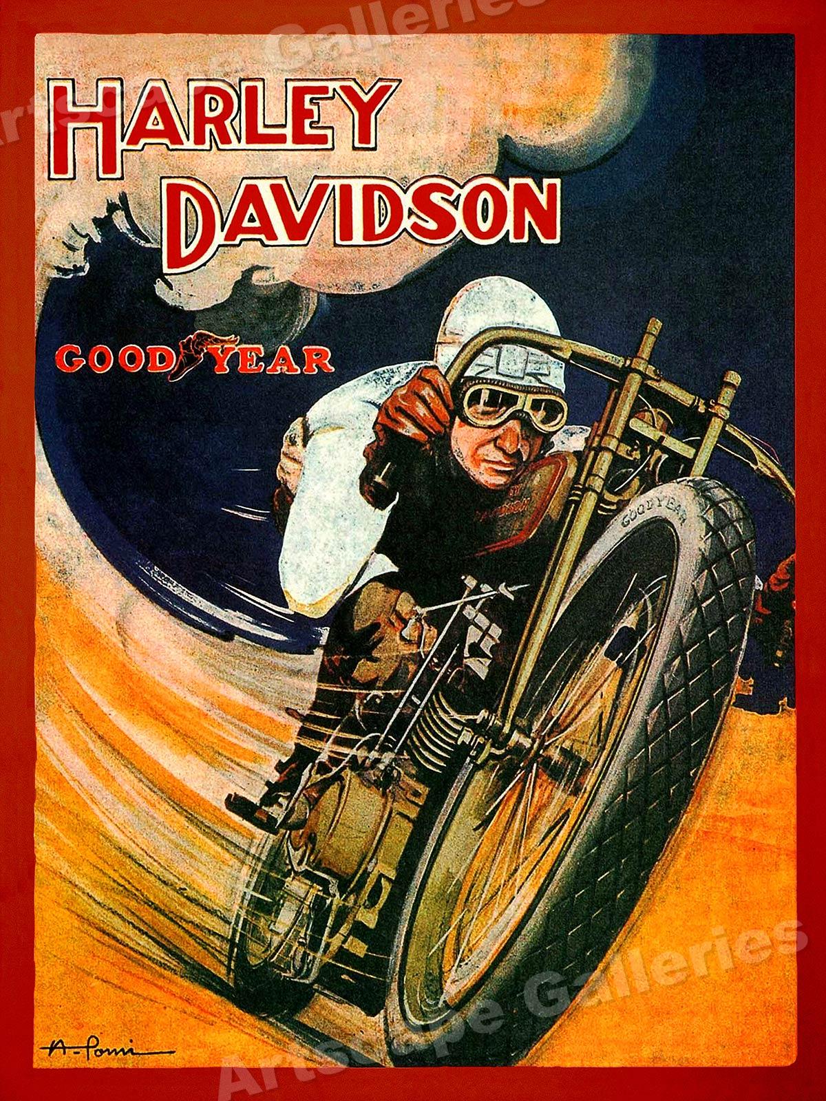1920s harley davidson motorcyle vintage style goodyear. Black Bedroom Furniture Sets. Home Design Ideas