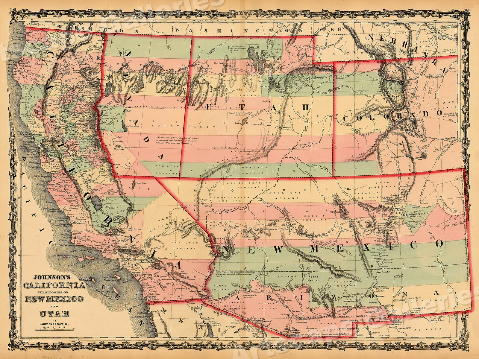 Details about 1861 Johnson's Map of California Historic Vintage Style  Western Wall Map - 24x32
