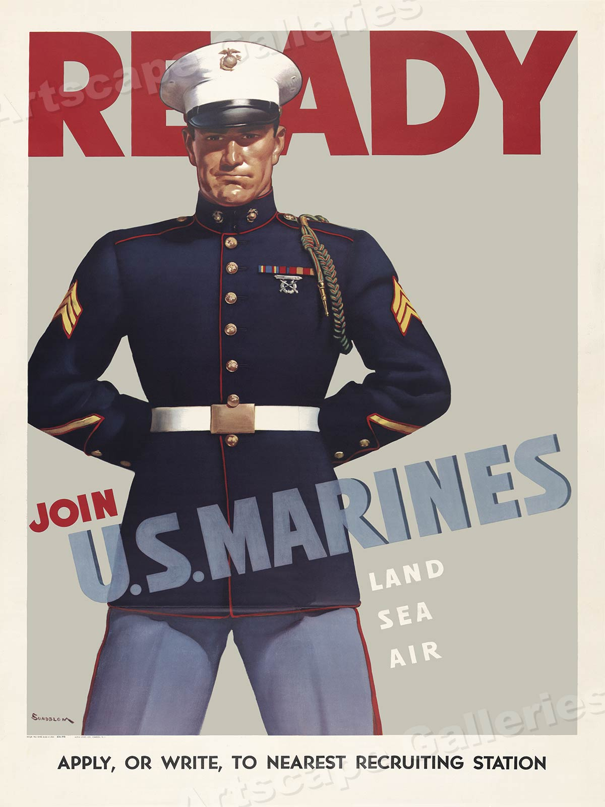 Join the Navy or the Naval Reserve 24x32 Arise Americans WW2 War Poster