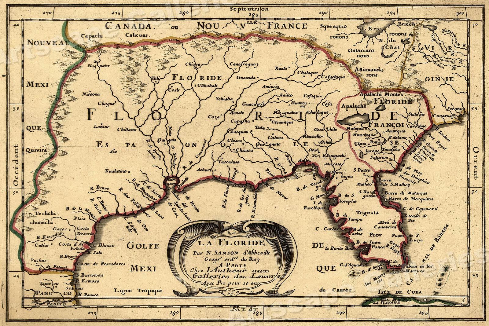Florida 16x24 La Floride 1657 Historic Old Map