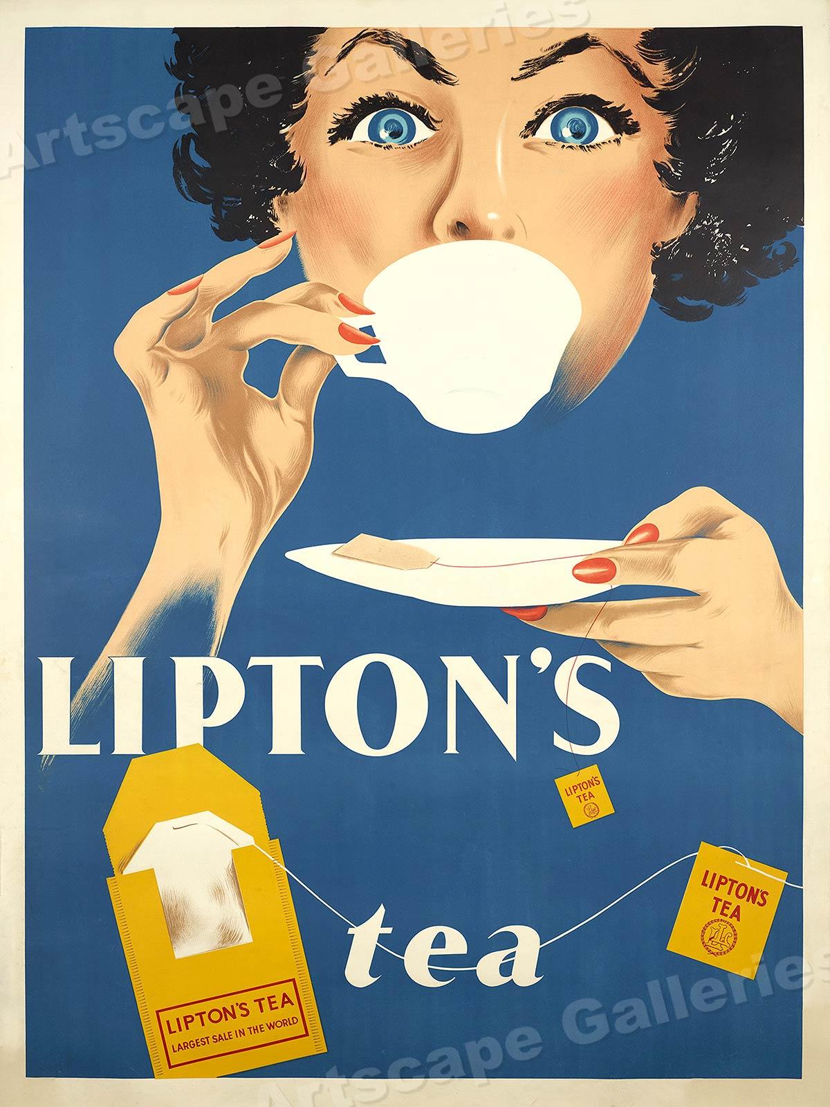 1950s Lipton Tea Bag Vintage Style Advertising Poster