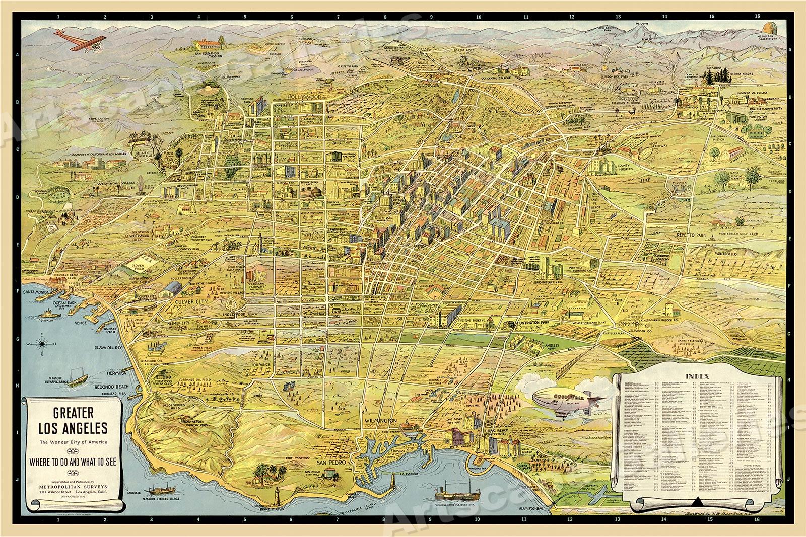 1932 Los Angeles California Panoramic Sightseeing Map 24x36