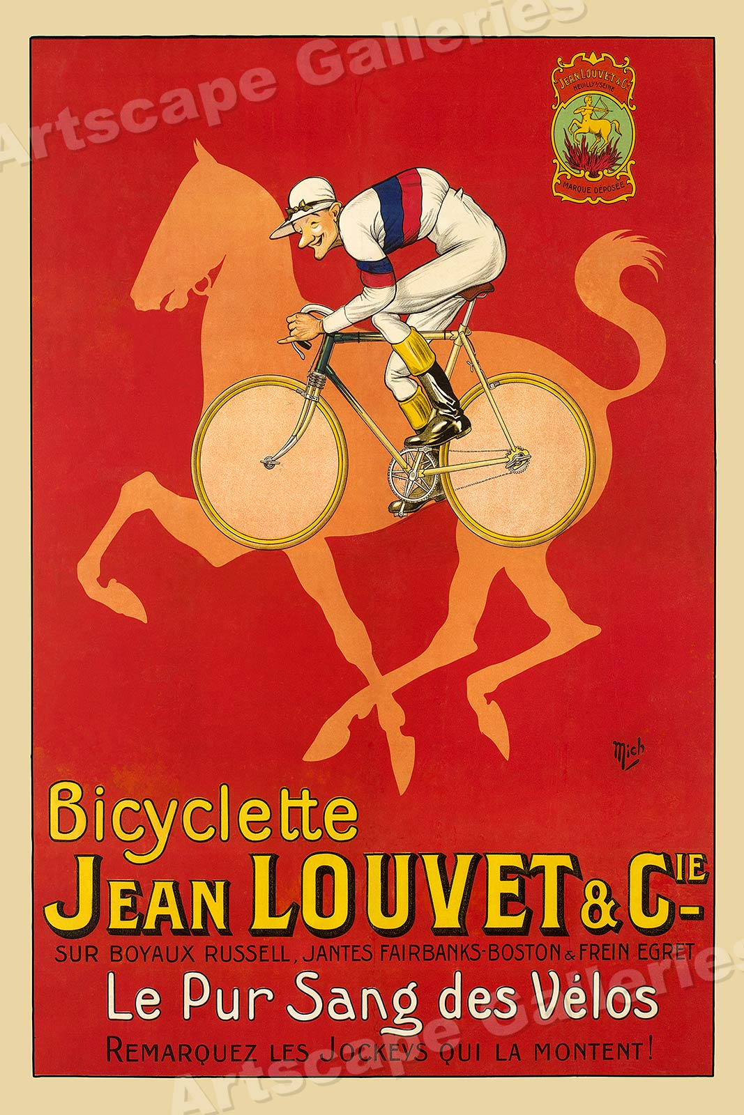 """16x24 1920s Classic Bicycle Jockey Poster /""""Bicyclette Jean Louvet /& Cie/"""""""